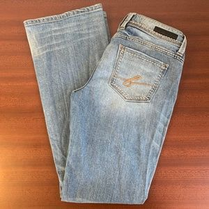 Bebe Dynasty Light Factory Distressing Jeans